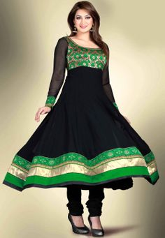 Black Faux Georgette Anarkali Readymade Kameez with Legging @ $108.00
