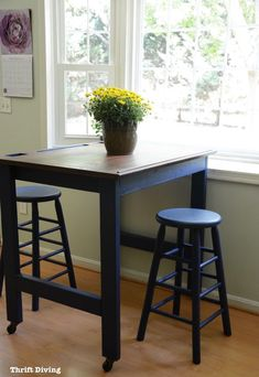 BEFORE & AFTER: Make your own DIY eat-in kitchen table in a Navy blue paint and refinished kitchen table top! Blue Kitchen Tables, Kitchen Table With Storage, Eat In Kitchen Table, Painted Kitchen Tables, Cottage Kitchen Cabinets, Kitchen Table Makeover, Kitchen Furniture, Kitchen Decor, Diy Kitchen