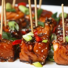 Teriyaki Salmon Bites Recipe by Tasty For sauce/technique Baked Salmon Recipes, Fish Recipes, Seafood Recipes, Appetizer Recipes, Cooking Recipes, Healthy Recipes, Salmon Bites Recipe, Salmon Appetizer, Appetizers