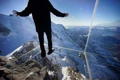 """FRANCE – """"Step into the Void"""" Aiguille du Midi Skywalk at the top of Aiguille du Midi peak, Mont Blanc massif, French Alps. The cable car is from Chamonix, Haute-Savoie, Auvergne-Rhône-Alpes. Tokyo Skytree, Places To Travel, Places To See, Scary Places, France National, Chamonix Mont Blanc, National Geographic Travel, Paris Match, Glass Floor"""