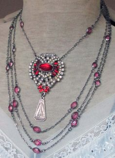 MOULIN ROUGE vintage assemblage necklace with rhinestone dress clip by The French Circus, $147.00
