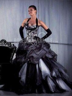 Charmante bretelle au cou robe de mariée noire satin et tulle