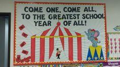 carnival and circus bulletin boards Carnival Bulletin Boards, Circus Theme Classroom, Back To School Bulletin Boards, Preschool Bulletin Boards, Preschool Classroom, In Kindergarten, Classroom Ideas, Holiday Classrooms, Preschool Circus