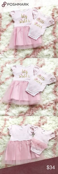 NWT Matching Big Sister Little Sister Outfits NWT Super cute matching dress and onesie for Big and Little sisters! They are white and pink stripe with pink tulle and gold lettering. The lettering has two pink tulle flower details. The Big Sister Dress has a tulle skirt and is a 3T. The Little Sister onesie has tulle ruffle on the bum and is 3 month. I purchased for newborn photos, but my baby was a little peanut and too small for the onesie so I had to get a different set. Mud Pie Matching…
