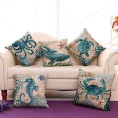Vintage Spirit of Ocean Marine Life Sea Turtle Sea Horse Pillow Cushion Cover Printed Cushions, Decorative Cushions, Decorative Pillow Covers, Cushions On Sofa, Throw Pillow Covers, Throw Pillows, Cushion Covers, Sofa Bed, Pillow Cases