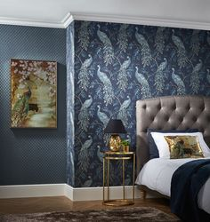 Beautiful peacock pattern in a rich colourway to make a statement on any wall