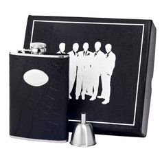 Visol Noir Black Crocodile Leather Century II Flask Gift Set - 8 ounces (Black)