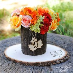 Rustic Wedding Table Numbers  - Rustic Wood Maple Leaf with Twine (set of 10). $22.00, via Etsy.