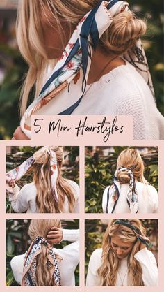 22 Easy Hairstyles for Long Hair (Fast Looks for - Style My Hairs 5 Minute Hairstyles, Fast Hairstyles, Easy Hairstyles For Long Hair, Everyday Hairstyles, Scarf Hairstyles, Pretty Hairstyles, Easy College Hairstyles, Hairstyle Men, Hair Updo