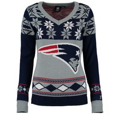 Women s New England Patriots Klew Navy Red Big Logo V-Neck Ugly Sweater 48e4afd0c