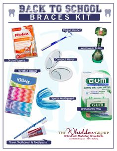 What does your orthodontic practice recommend for a back to school braces emergency kit?
