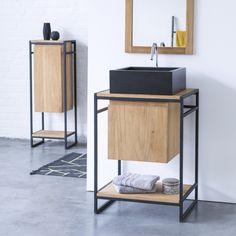 Mobile sottolavabo in metallo e Teak 60 Michal - Prezzo - Tikamoon Open Shelving, Shelves, Under Sink Storage Unit, Sink Design, Steel Furniture, Bathroom Furniture, Furniture Design, Interior, Home Decor