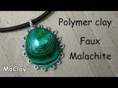 Faux Malachite polymer clay tutorial - cabochon frame. - YouTube