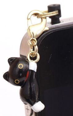 Kutusita Nyanko black cat mobile phone plug jack charm
