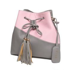 Tassel Women Bucket Bag Ladies New Trend Splice Candy Woman Messenger Bags String Sac A Main Lady Double Colors Style Bolso
