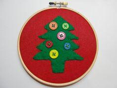Christmas Tree  Hoop Art by HERTrinkets on Etsy, $12.00