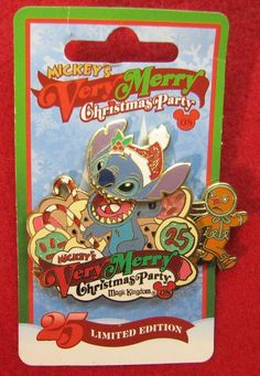 Disney STITCH- MICKEY'S VERY MERRY Christmas Party Holiday LE Pin on Card
