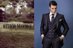 Advertisign campaign 2017 - OTTAVIO NUCCIO GALA Gentleman collection!  Luxury blue groom suit with vest with cotton white shirt and 100% silk tie. Made in Italy.