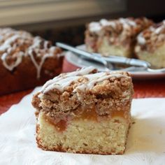Fresh Peach Crumb Cake with Vanilla Glaze