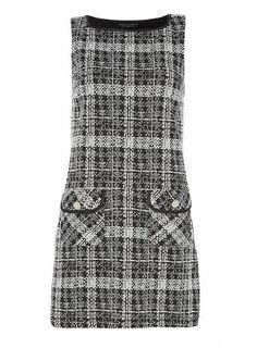 monochrome check jacquard pinny dress