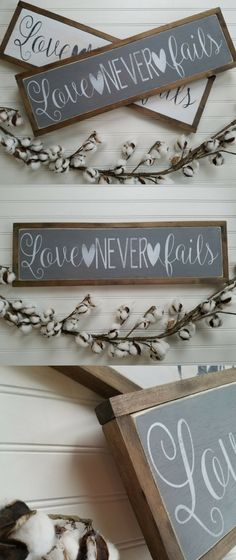 Love Never Fails wall art beauitful decor to add to our home. I love these rustic wood signs you can't go wrong. #ad #farmhouse #marriage
