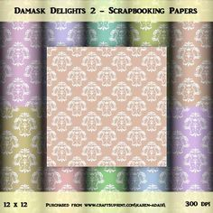 """Damask Delight Set 2 on Craftsuprint designed by Karen Adair - This paper pack contains 10 sheets, all 12"""" x 12"""", in jpeg format at 300 dpi. They have a pretty white damask overlay, in 10 gorgeous light colours.Please observe my TOU, a copy of which is included in the zip file. - Now available for download!"""