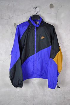 mens vintage, NIKE purple, gold and black windbreaker track jacket, large, 80s - 90s