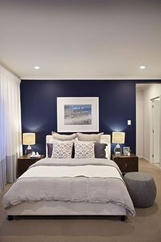 Clarendon Homes. Brighton Master bedroom with walk-in-robe built behind the bed head wall. Clarendon Homes. Brighton Master bedroom with walk-in-robe built behind the bed head wall. Blue Master Bedroom, Blue Bedroom Walls, Blue Bedroom Decor, Farmhouse Master Bedroom, Master Bedroom Design, Bedroom Colors, Navy Blue Bedrooms, Blue Feature Wall Bedroom, Master Bedrooms