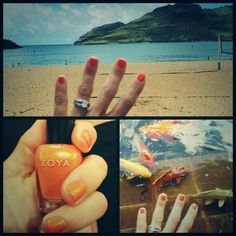 Zoya Nail Polish in Ginger on the beach of Kauai!