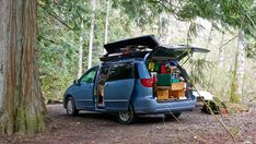 Why choose a minivan for a camper conversion? unlike suvs or car conversions, there is a little more livable space in a minivan. Mini Camper, Camper Van, Car Camper, Campers, Thule Bike, Minivan Camper Conversion, Conversion Van, Minivan Camping, Amigurumi