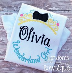 Personalized Wonderland Girl Embroidered T-shirt/ Toddler Iron On Patches, Lace Trim, Initials, Wonderland, Delicate, Reusable Tote Bags, Monogram, T Shirt, Etsy