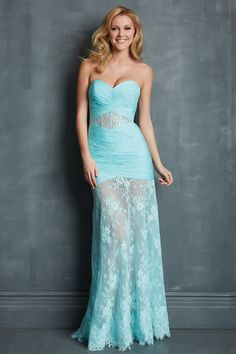Modest Prom Dresses Sweetheart Column Pleated Bodice Blue Chiffon&Lace