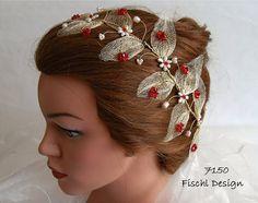 7150 Hochzeit Diadem Blumenranke Blätter Blüten von FischlDesign, €54.00
