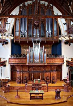 The hand-crafted tracker pipe organ of First Presbyterian Church [Portland, Oregon} was custom-designed for the congregation by Dan Jaeckel, Inc., of Duluth, Minnesota.