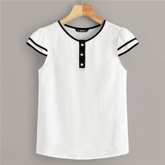 Casual Style Summer Season Contrast Piping Half Button Detail Round Neck, Short Sleeve Polyester Material 1 x Blouse Summer Blouses, Summer Shirts, Blouse Styles, Blouse Designs, Fashion Clothes, Fashion Dresses, Woman Outfits, Mode Style, Clothes For Women
