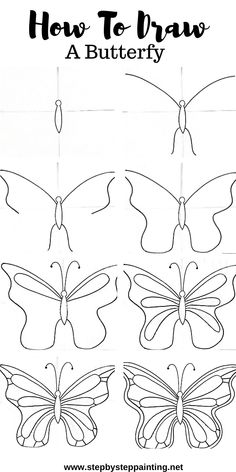 Learn how to draw a butterfly easy step by step. Then learn how to paint this butterfly in with a free acrylic painting tutorial. art step by step How To Draw A Butterfly Easy Colorful Butterfly Drawing, Butterfly Acrylic Painting, Easy Flower Drawings, Butterfly Sketch, Easy Drawings Sketches, Butterfly Canvas, Cute Easy Drawings, Butterfly Drawing Images, How To Draw Butterfly