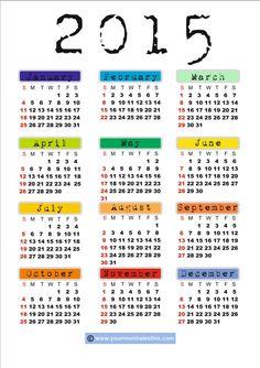 FREE Pprintable 2015 Calendar
