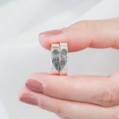SET OF Fingerprint Rings Actual Fingerprint Jewelry Couple Rings Wedding Band Memorial Jewelry Anniversary Gift for Him by CaitlynMinimalist Wedding Ring Styles, Wedding Ring Bands, Fingerprint Jewelry, Traditional Engagement Rings, Custom Jewelry, Unique Jewelry, Rose Gold Engagement, Solitaire Engagement, Memorial Jewelry