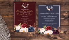 Navy and marsala wedding invitation. Rustic wedding invitation. Cheap navy wedding invitation. Cheap maroon wedding invitation. Burgundy and gold wedding invitation. Antlers wedding invitation. Outdoor wedding theme with marsala and gold. Floral wedding invitation.