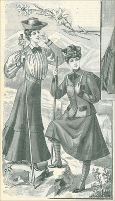 "picture from ""Tygodnik mód i powieści"" (""Fashion and novels weekly"") - a polish magazine for women Edwardian Dress, Edwardian Era, Edwardian Fashion, Vintage Fashion, Vintage Style, Hiking Dress, Camping Attire, Polish Clothing, Trekking Outfit"