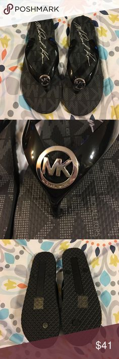 Michael Kors Jet Set flip flops Brand new, never worn Michael Kors flip flops. Women's size 8m, black on black with silver MK emblems. Comes from a smoke, and pet free home. Super cute and comfy for summer time!☀️ Michael Kors Shoes Sandals
