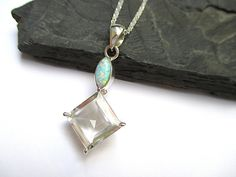 Sterling Silver Fire Opal Necklace, Quartz Crystal Necklace by SimpleGem.