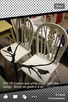 Dining chairs refinished in white with bird on a tree limb in black. Rocking Chair Redo, White Wooden Rocking Chair, Wooden Table And Chairs, Compact Table And Chairs, Chairs For Rent, Chairs For Sale, Eames Chairs, Dining Chairs, Cool Furniture