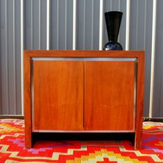 Milo Baughman MID CENTURY MODERN Vintage Walnut Cabinet 1960s American Flame Wood & Nickel Chrome for Dillingham Furniture Chicago