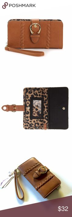 NEW clutch wallet NEW Jessica Simpson Cognac color Clutch wallet with Leopard print💕 please bundle with other items to receive the best price! Jessica Simpson Bags Clutches & Wristlets