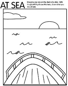 With this free printable coloring page, have your kids draw what they would see if they were out to sea on a boat.