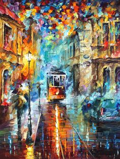 """Blue Trolley — PALETTE KNIFE Oil Painting On Canvas By Leonid Afremov - Size: 30"""" x 40"""""""