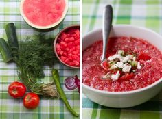 Watermelon Gazpacho - A Thought For Food Healthy Soup Recipes, Raw Food Recipes, How To Cook Chili, Easy Vegetarian Dinner, Beautiful Soup, Sandwiches, Soup Kitchen, Dessert Salads, Watermelon Recipes
