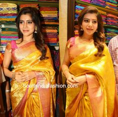 samantha_yellow_pattu_saree_shop_opening