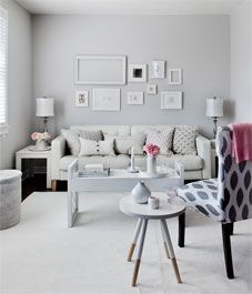 Muted living room (via Style At Home). Shabby Chic Living Room, Living Room Decor, Living Room Inspiration, Home Decor Inspiration, Vintage Apartment, Pink Furniture, Living Room Images, White Rooms, Home Fashion